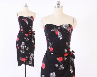 Vintage SARONG DRESS / 1950s Style ROSE Print Cotton Strapless Wiggle Dress xs - s