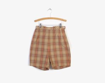 Vintage 60s SHORTS / 1960s High Waisted Cotton Light Camel Plaid Shorts XS