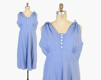 Vintage 40s Day DRESS / 1940s Periwinkle Blue Seersucker Textured Cotton Sleeveless Plus Size Sun Dress XL - XXL