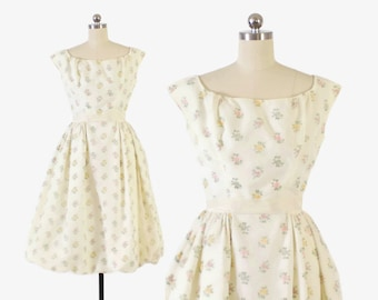Vintage 50s Party DRESS / 1950s Pastel Floral Off-White Flocked Swiss Dot Full Skirt Dress XS - S