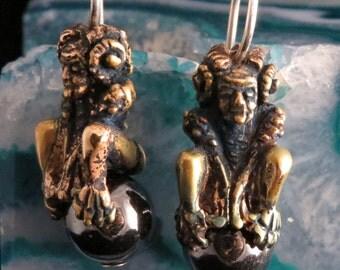 Gargoyle Earrings in Patinated Bronze