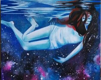"""24"""" x 20"""" Original Painting Underwater Girl"""