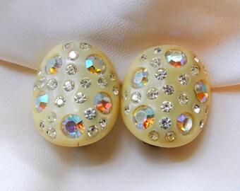 Vintage Weiss Thermoset Rhinestones Earrings