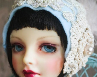 "Sweet Baby Blue ""Colleen"" Felt Flapper Cloche Hat With Pearl Trim For Ball Jointed Dolls"