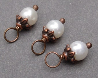 Antiqued Copper Freshwater Pearl Charms, Pearl Dangles, Birthstone Charms, Pearl Jewelry, June Birthstone Charms with Flower Bead Caps 6mm