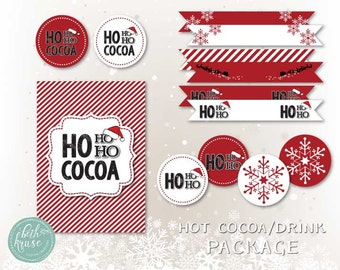 Santa Hot Cocoa or Drink Printable Package Red and White Collection Instant Download by Beth Kruse Custom Creations