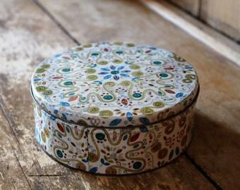 Vintage Tin Storage Box / Round, Colorful