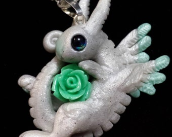 White Bunny and Tea Rose polymer clay pendant