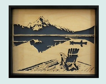 Quiet Lakeside Morning - Wood Landscape Framed Scroll Saw Hand Cut