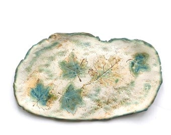 Ceramic Leaf  Wall  Art Clay Leaves Art Plaque Organic Pottery Rustic Contemporary Home Decor Green Wall Hanging