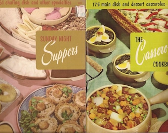 Sunday Night Supper Cookbook and The Casserole Cookbook, Vintage Cookbooks, Paperback, Culinary Arts Institute of Chicago, Recipes
