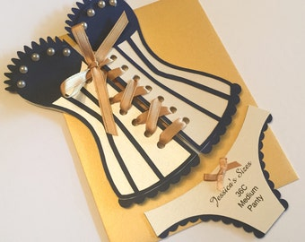 Lingerie Shower / Bridal shower - Navy and Gold Corset invitation with panties, set of 6