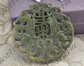 Carved Chinese Green Jade Pendant,Double Side Face Carved Dragon jade Pendant Gemstone ,Unique Carved Bat Jade Pendant,jasper pendant