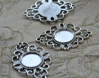 5pcs Antique Silver flower round Cabochon pendant tray (Cabochon size 18mm),bezel charm findings,lacework findings,cabochon blank finding
