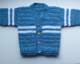 Baby Boy's Sweater / Cardigan With Car Buttons