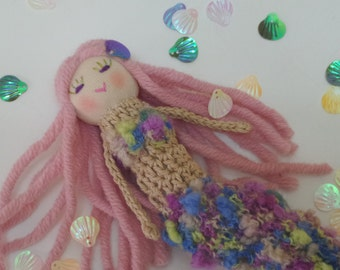Mermaid doll, Finger puppet, Crochet, Fantasy doĺl, pink