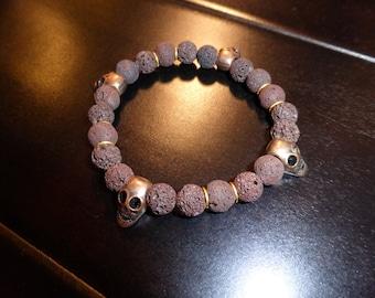 Brown Lava Beads w/ Copper Skulls BRACELET