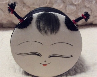 20% OFF SALE Vintage Smiling Happy Asian Girl Keepsake Treasure Box with Pigtails and Hair
