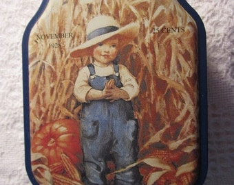 20% SALE Vintage Autumn Good Housekeeping Tin Container with 1928 Advertising Collectible Pumpkin
