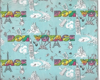 Vintage Mid Century Unused Wrapping - Gift Paper - Bon Voyage