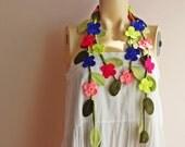 Neon Crochet Scarf-Flower Necklace Scarf-Multicolor Lariat Scarf-Handmade Loop Scarf