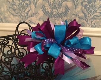 Turquoise and Purple Funky Loop Hair Bow