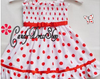 Shirley Temple inspired dress for little girls, white with red polka dot dress, Halloween dress, Easter dress, Shirley Temple inspired Dress