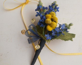 RYAN ~ Blue Lavender with Yellow Button Flowers Boutonniere