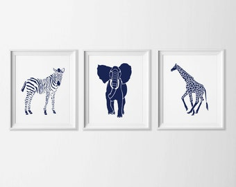 Safari Nursery Art , Navy Zoo Nursery Art , Nursery Art Safari Navy , Animal Nursery Wall Navy , Giraffe Elephant Jungle Nursery Wall Art