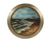 Antique Lighthouse Painting - Round - Original Artwork - Unusual