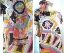 1960's Vintage Emilio Pucci Dress womn's vintage scarf dress by emillio pucci scarf dress lot size small s  m