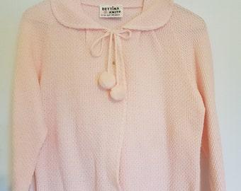 Vintage 1980s pastel pink jumper sweater with pom poms