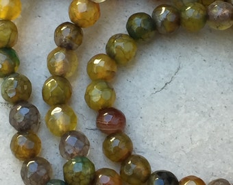 Olive Green Agate Beads, Round Faceted Agate Beads, 4mm, 14.5 inch strand