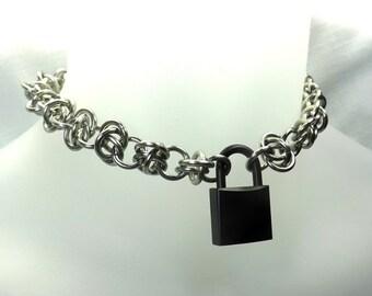 Locking Male Submissive Collar with black lock mens day collar handmade chain mature Chain collar with Lock and key for sub chain day collar