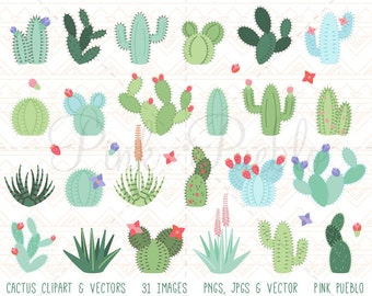 Cactus Clipart, Cactus Clip Art, Tribal Clipart, Tribal Clip Art, Succulent Clipart Clip Art - Commercial and Personal Use