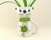 Mod Cat Flower Vase FTD Planter Pot Green Kitty Figurine 1970s Giant Mug Cat Decor Ceramic Vase Spring Colors