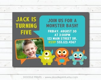 Monster Invitation, Printable Monster Birthday Invitation, Personalized Boy's Party, Picture Invitation, Modern Monsters Party