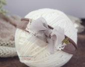 Newborn Bow Tieback, Baby Tieback Headband, Newborn Tie Back, Baby Vintage Headband, Bow Headband, Taupe, Cream, Lace, Newborn Photo Prop