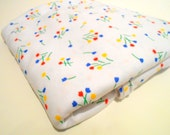 White Knit Fabric, Sewing Material, 1 yd Remnant, Bright Flowers Print on White