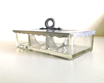 Vintage Cromwell Aluminum and Glass Storage Box