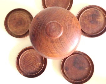 Vintage Handmade Wooden Container Coaster Set
