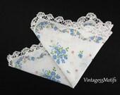 Handkerchief White Blue Rose Wedding