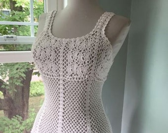 Sexy Vintage 1970s 1980s White Knit Crochet Tank Top