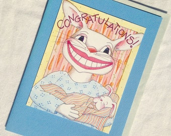 CONGRATULATIONS new baby boy new baby girl pregnancy blank greeting card blue or pink
