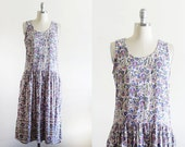 Vintage Indian Cotton Dress / Dropped Waist / Floral Pattern / S M