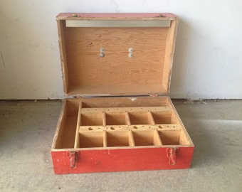 Vintage Aviation Airline Wooden Red Chippy Tool Box
