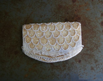 Vintage White & Gold Beaded Fold-over Clutch