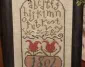 1802 Floral Alphabet Sampler, Primitive Cross Stitch, Framed ~ FREE US SHIPPING