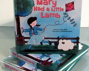Signed Copy Mary Had a Little Lamb Illustrated by Andrea Doss Childrens Board Book Kids Book Gift for Babies Cute Whimsical Baby Storybook