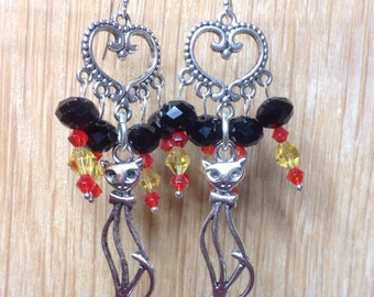 Candy Corn Kitty Crystal Halloween Earrings Day of the Dead Dia de Los Muertos Sterling Silver French Wires